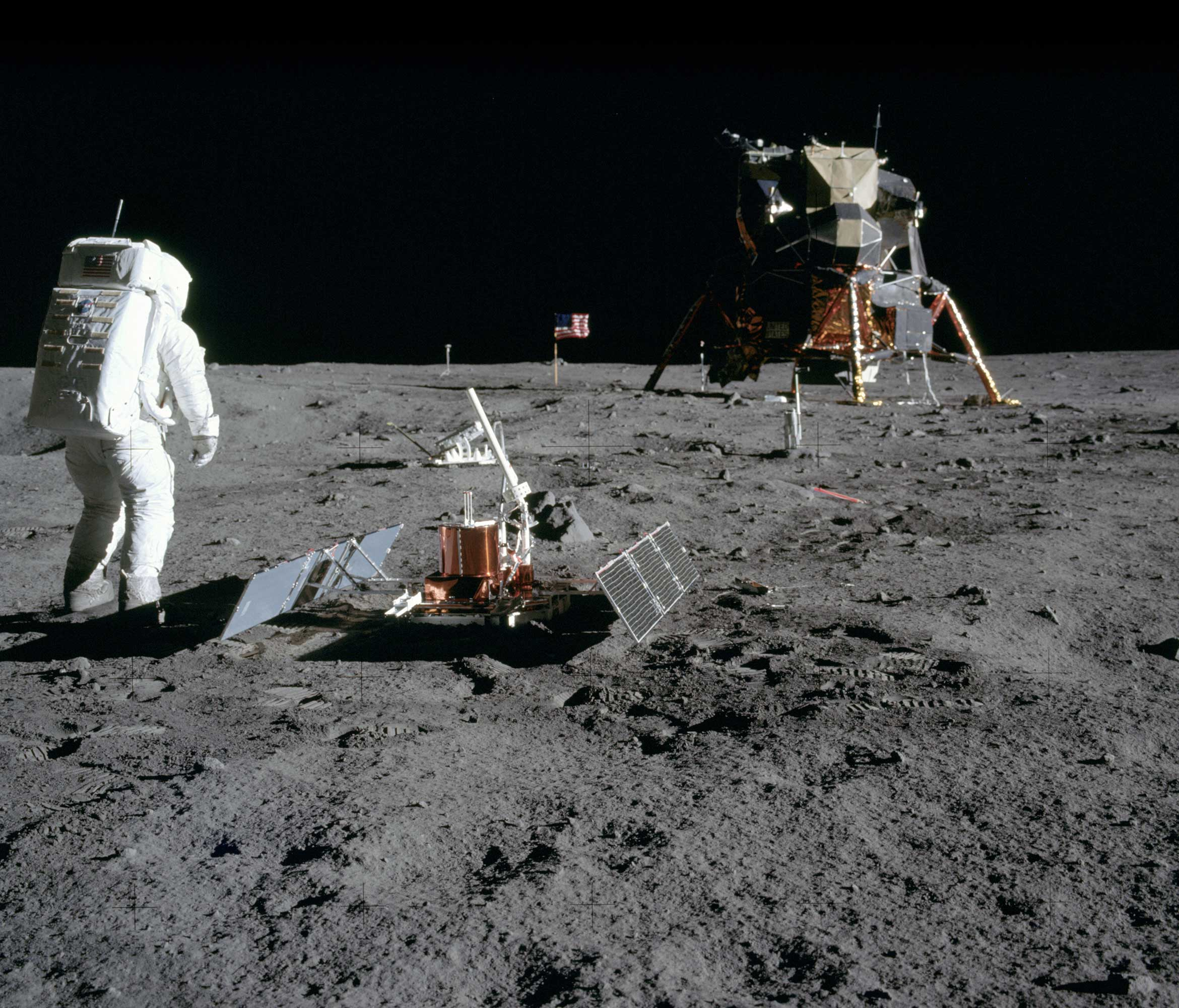 Astronaut Edwin Aldrin after deployment of EASEP on surface of moon