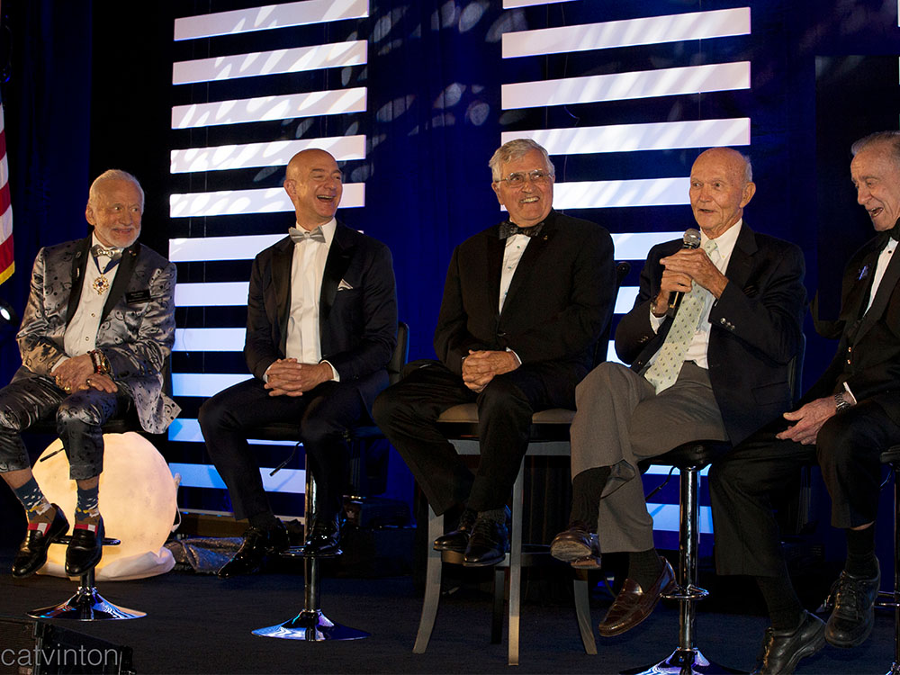 Buzz Aldrin, Jeff Bezos, Harrison 'Jack' Schmitt, Michael Collins and Walt Cunningham