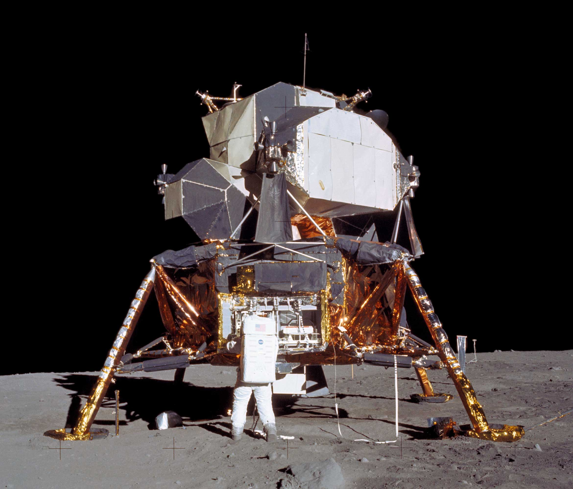 Apollo 11 Lunar Module as it rested on lunar surface