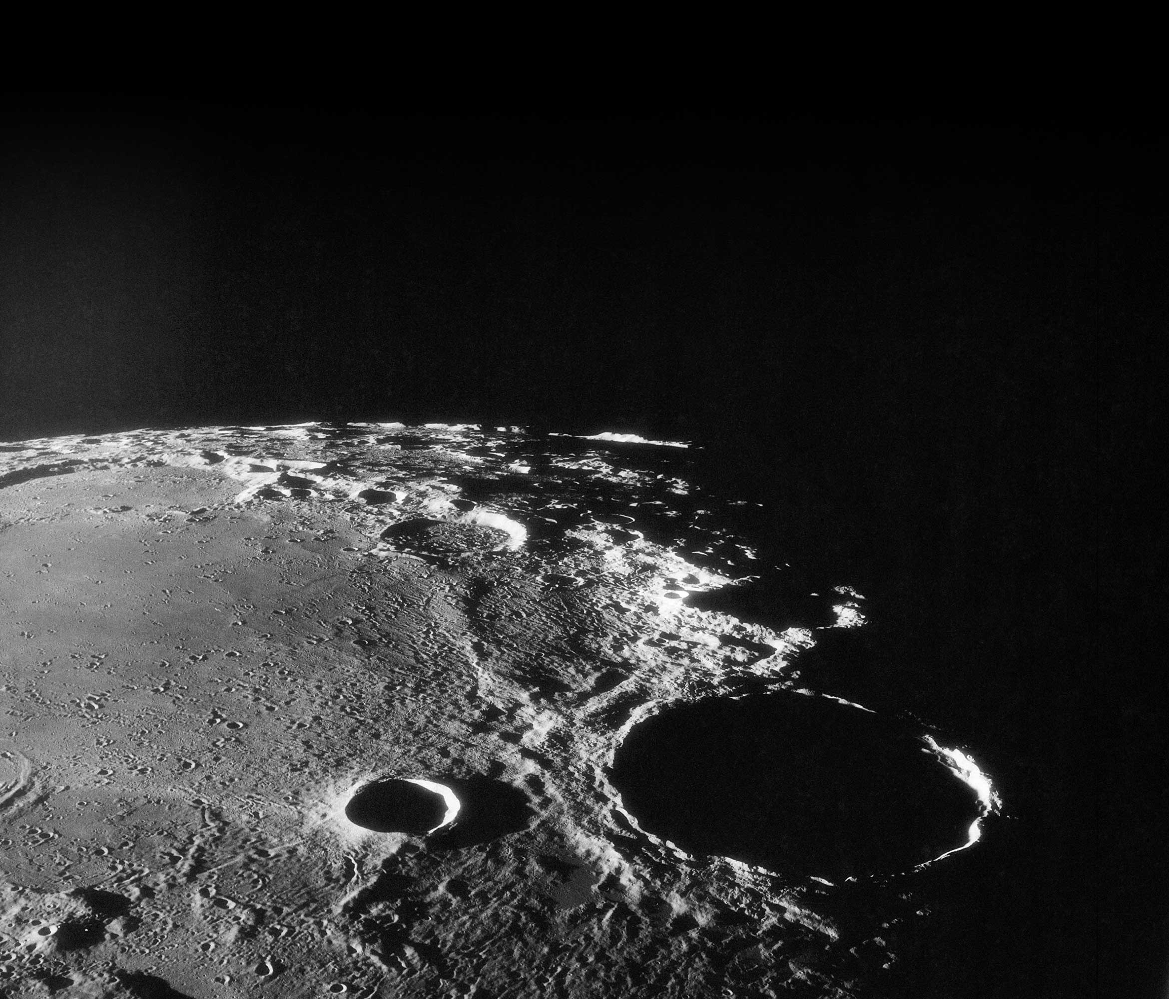 Oblique view of crater Theophilus at northwest edge of Sea of Nectar